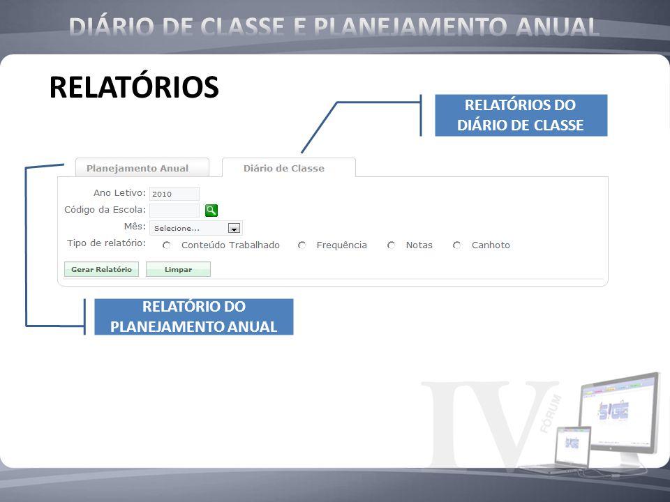 RELATÓRIOS DIÁRIO DE CLASSE E PLANEJAMENTO ANUAL