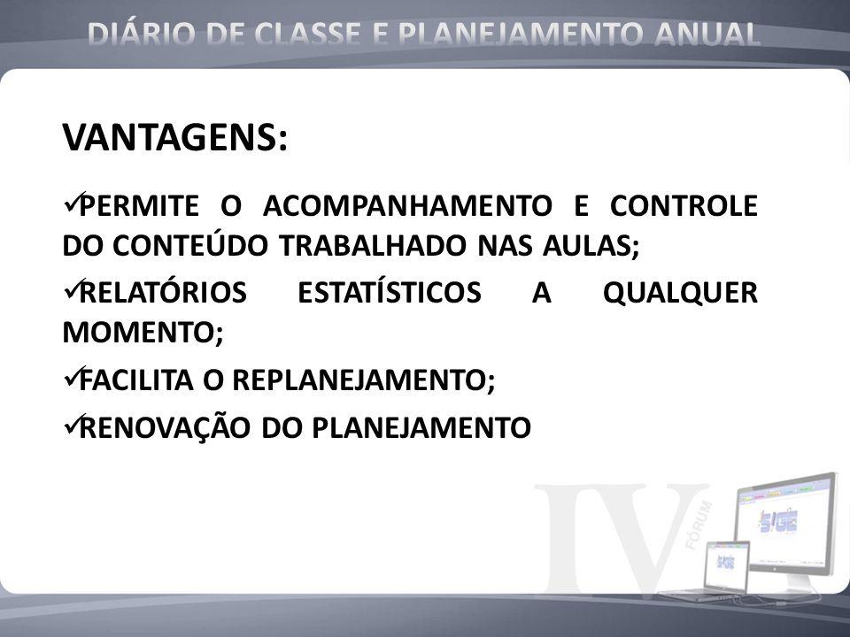 DIÁRIO DE CLASSE E PLANEJAMENTO ANUAL