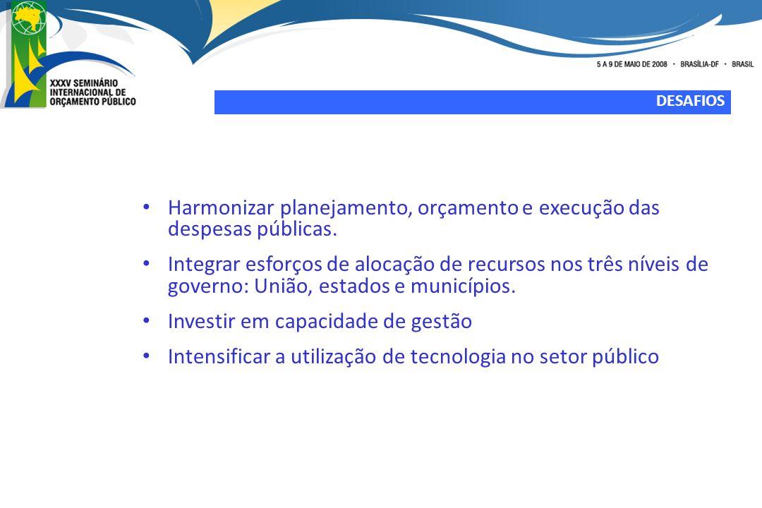 Harmonizar planejamento, orçamento e execução das despesas públicas.
