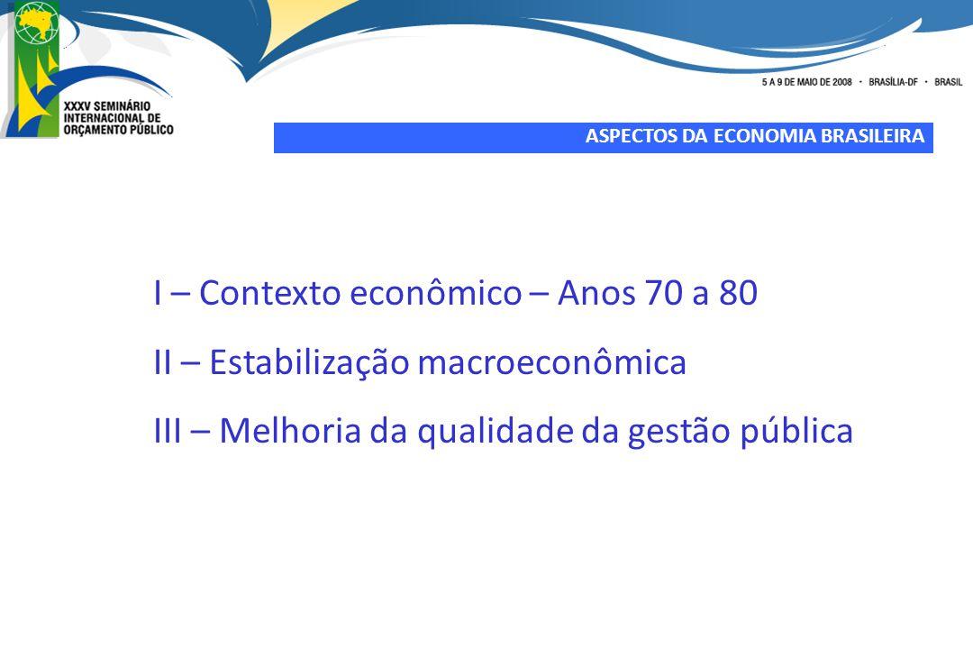 I – Contexto econômico – Anos 70 a 80