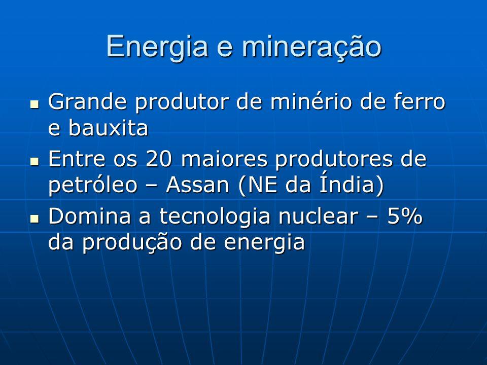 Energia e mineração Grande produtor de minério de ferro e bauxita