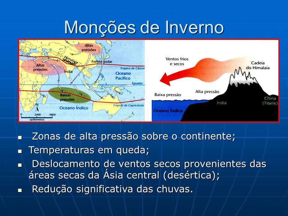 Monções de Inverno Zonas de alta pressão sobre o continente;