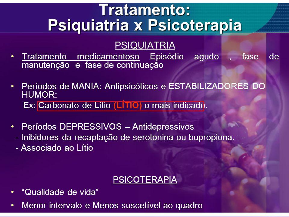 Tratamento: Psiquiatria x Psicoterapia