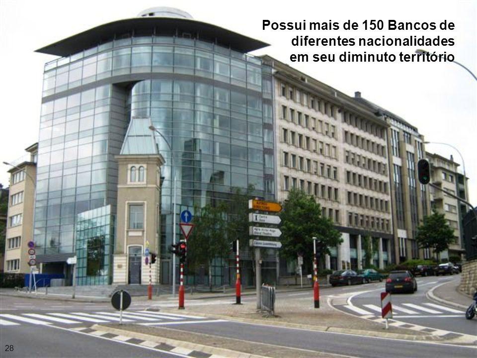Possui mais de 150 Bancos de diferentes nacionalidades em seu diminuto território