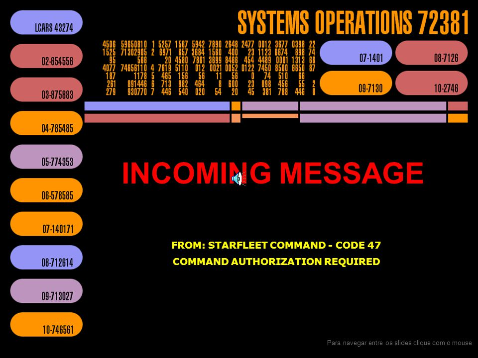FROM: STARFLEET COMMAND - CODE 47 COMMAND AUTHORIZATION REQUIRED