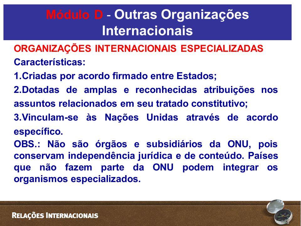 Módulo D - Outras Organizações Internacionais