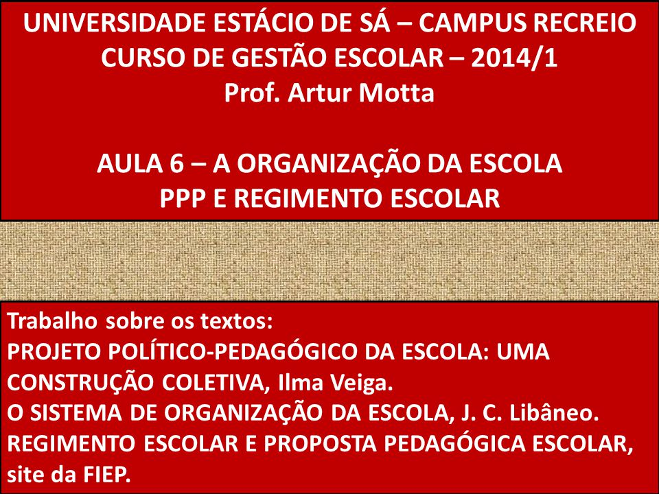UNIVERSIDADE ESTÁCIO DE SÁ – CAMPUS RECREIO