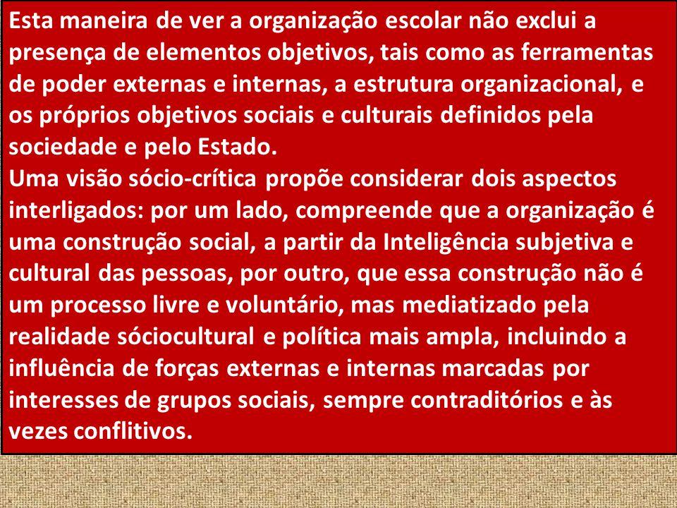Esta maneira de ver a organização escolar não exclui a presença de elementos objetivos, tais como as ferramentas de poder externas e internas, a estrutura organizacional, e os próprios objetivos sociais e culturais definidos pela sociedade e pelo Estado.