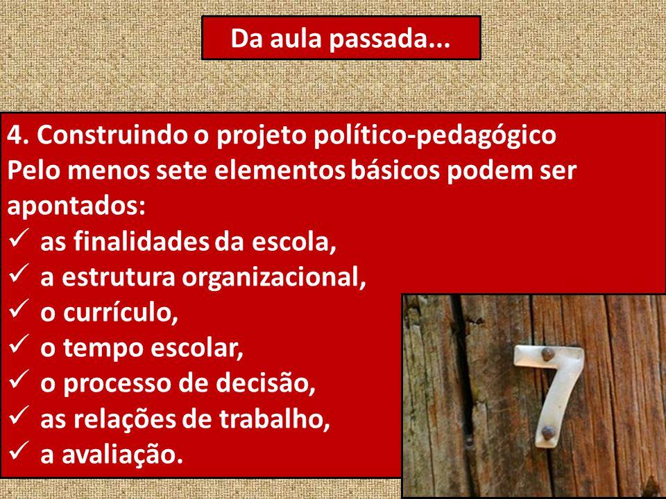 Da aula passada... 4. Construindo o projeto político-pedagógico. Pelo menos sete elementos básicos podem ser apontados: