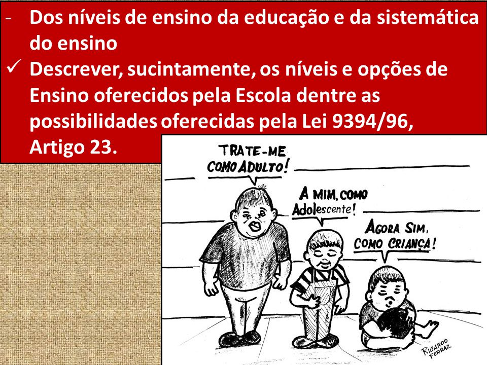 Dos níveis de ensino da educação e da sistemática do ensino