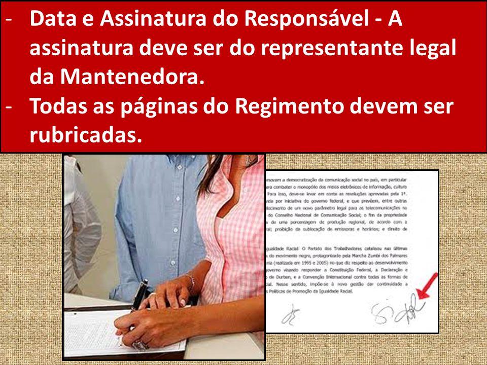 Data e Assinatura do Responsável - A assinatura deve ser do representante legal da Mantenedora.