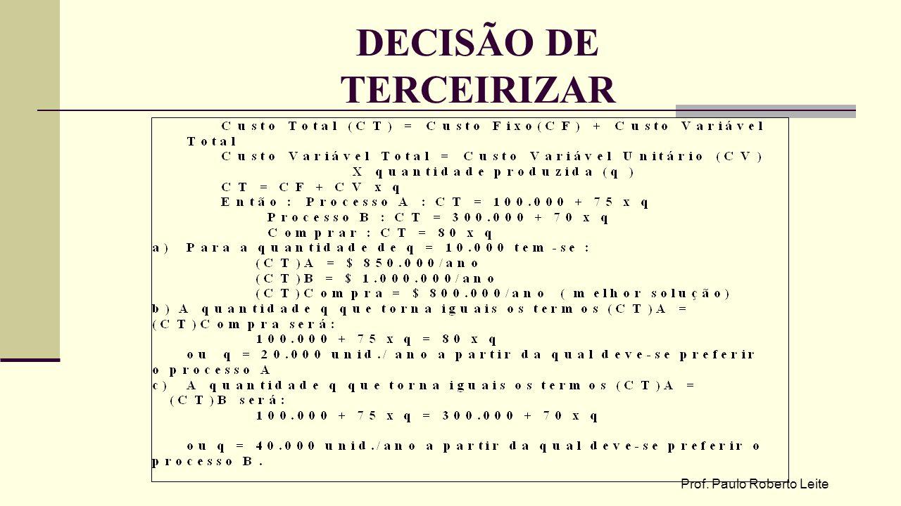 DECISÃO DE TERCEIRIZAR