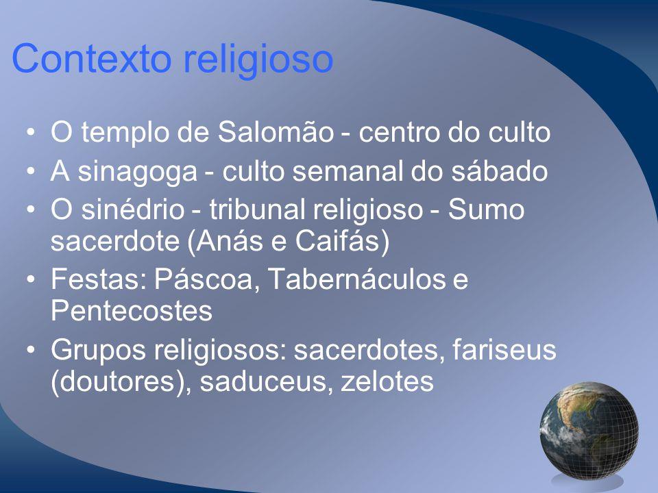 Contexto religioso O templo de Salomão - centro do culto