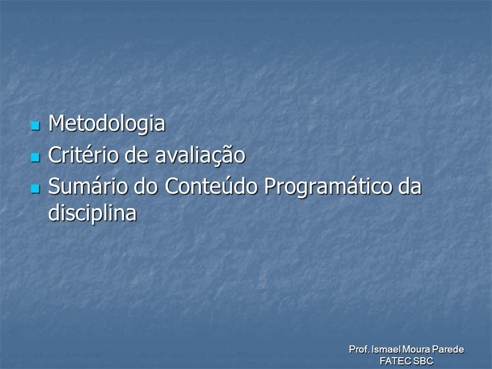 Metodologia Critério de avaliação Sumário do Conteúdo Programático da disciplina