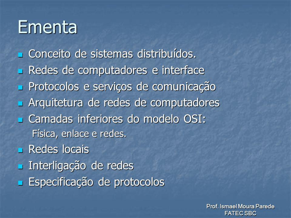 Ementa Conceito de sistemas distribuídos.