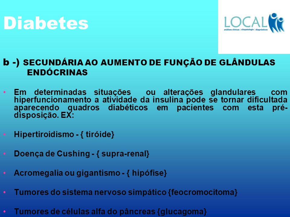 Diabetes b -) SECUNDÁRIA AO AUMENTO DE FUNÇÃO DE GLÂNDULAS ENDÓCRINAS