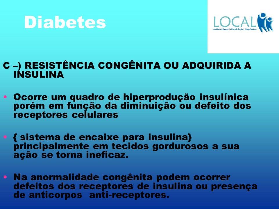 Diabetes C –) RESISTÊNCIA CONGÊNITA OU ADQUIRIDA A INSULINA