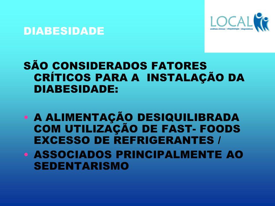 DIABESIDADE SÃO CONSIDERADOS FATORES CRÍTICOS PARA A INSTALAÇÃO DA DIABESIDADE: