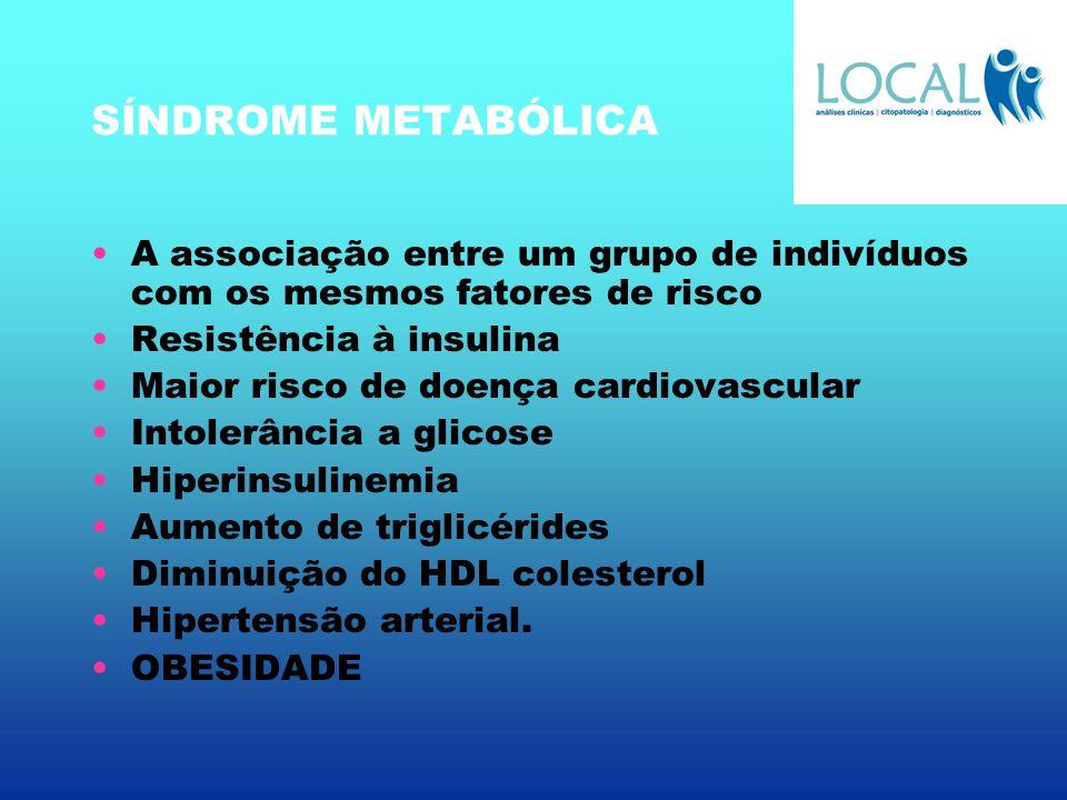 SÍNDROME METABÓLICA A associação entre um grupo de indivíduos com os mesmos fatores de risco. Resistência à insulina.
