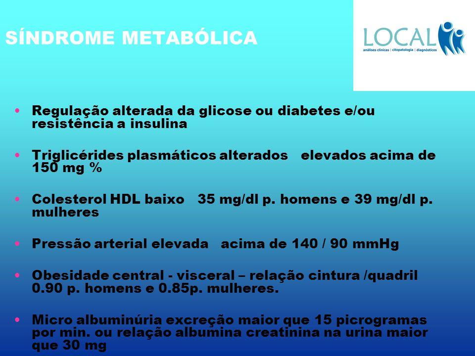 SÍNDROME METABÓLICA Regulação alterada da glicose ou diabetes e/ou resistência a insulina.