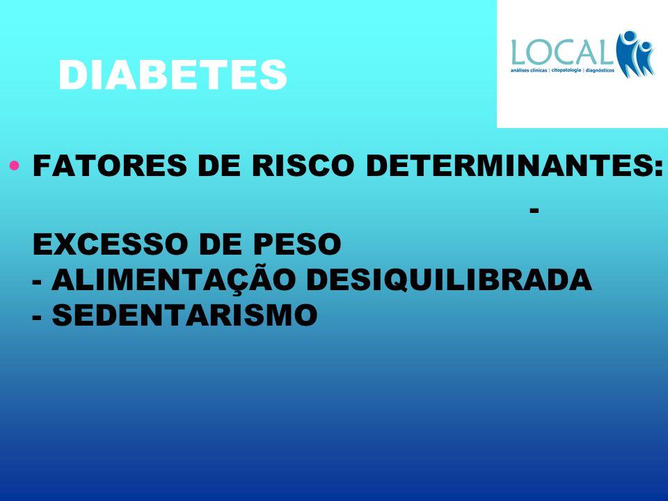DIABETES FATORES DE RISCO DETERMINANTES: