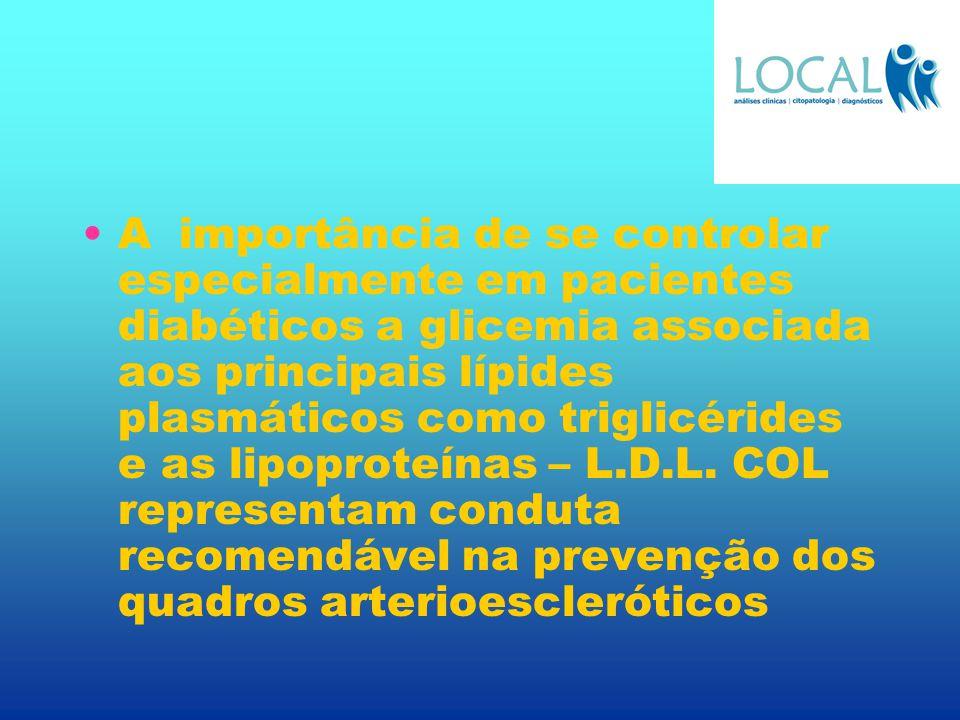 A importância de se controlar especialmente em pacientes diabéticos a glicemia associada aos principais lípides plasmáticos como triglicérides e as lipoproteínas – L.D.L.