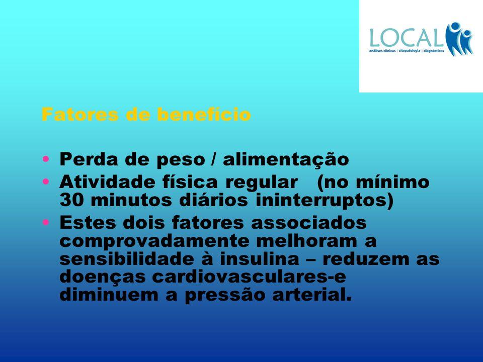 Fatores de benefício Perda de peso / alimentação. Atividade física regular (no mínimo 30 minutos diários ininterruptos)
