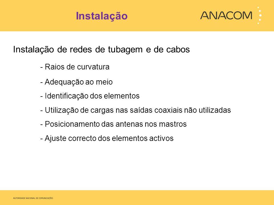 Instalação Instalação de redes de tubagem e de cabos