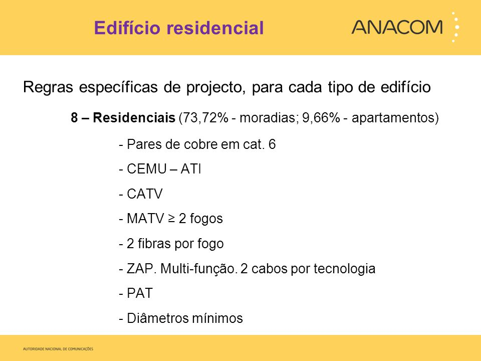 Edifício residencial Regras específicas de projecto, para cada tipo de edifício. 8 – Residenciais (73,72% - moradias; 9,66% - apartamentos)
