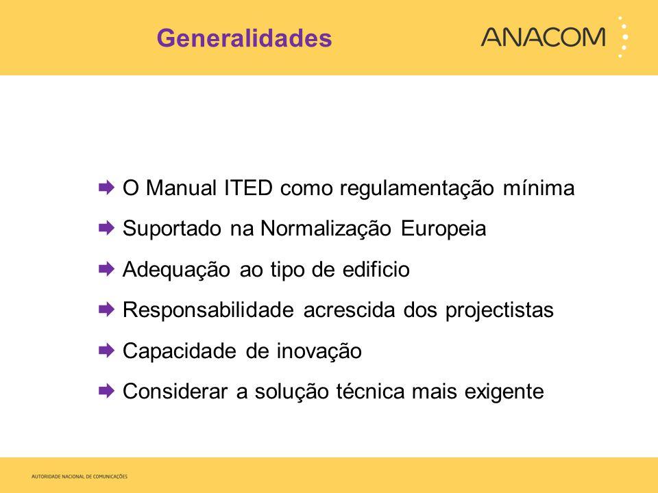 Generalidades  O Manual ITED como regulamentação mínima