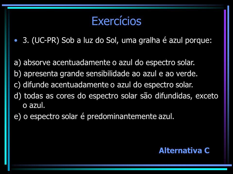Exercícios 3. (UC-PR) Sob a luz do Sol, uma gralha é azul porque: