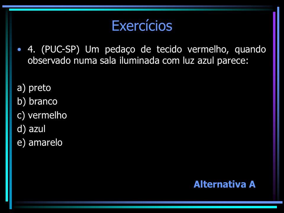 Exercícios 4. (PUC-SP) Um pedaço de tecido vermelho, quando observado numa sala iluminada com luz azul parece: