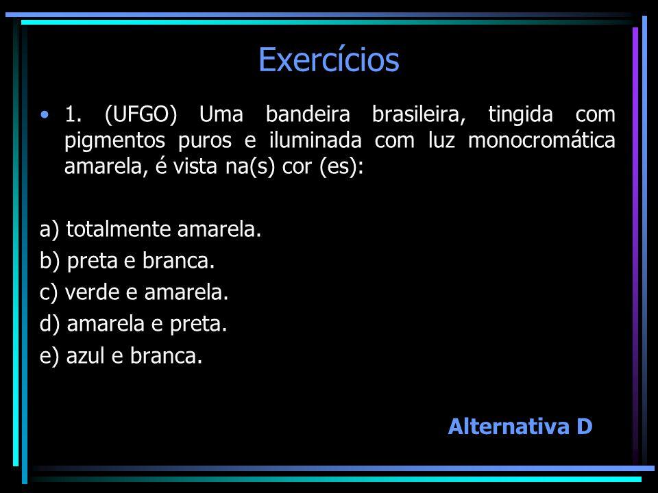 Exercícios 1. (UFGO) Uma bandeira brasileira, tingida com pigmentos puros e iluminada com luz monocromática amarela, é vista na(s) cor (es):
