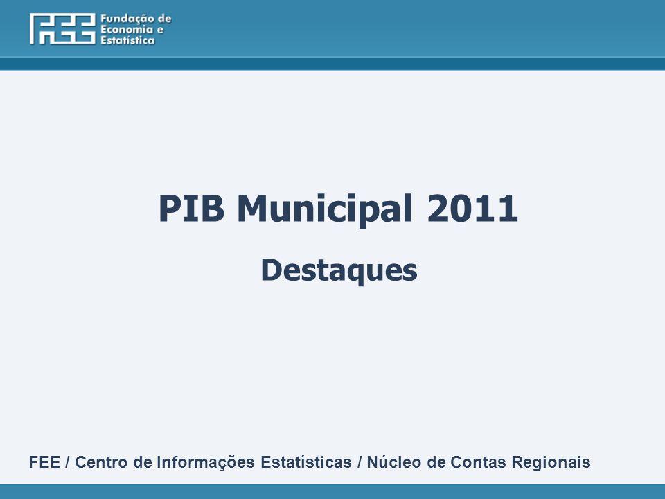 PIB Municipal 2011 Destaques