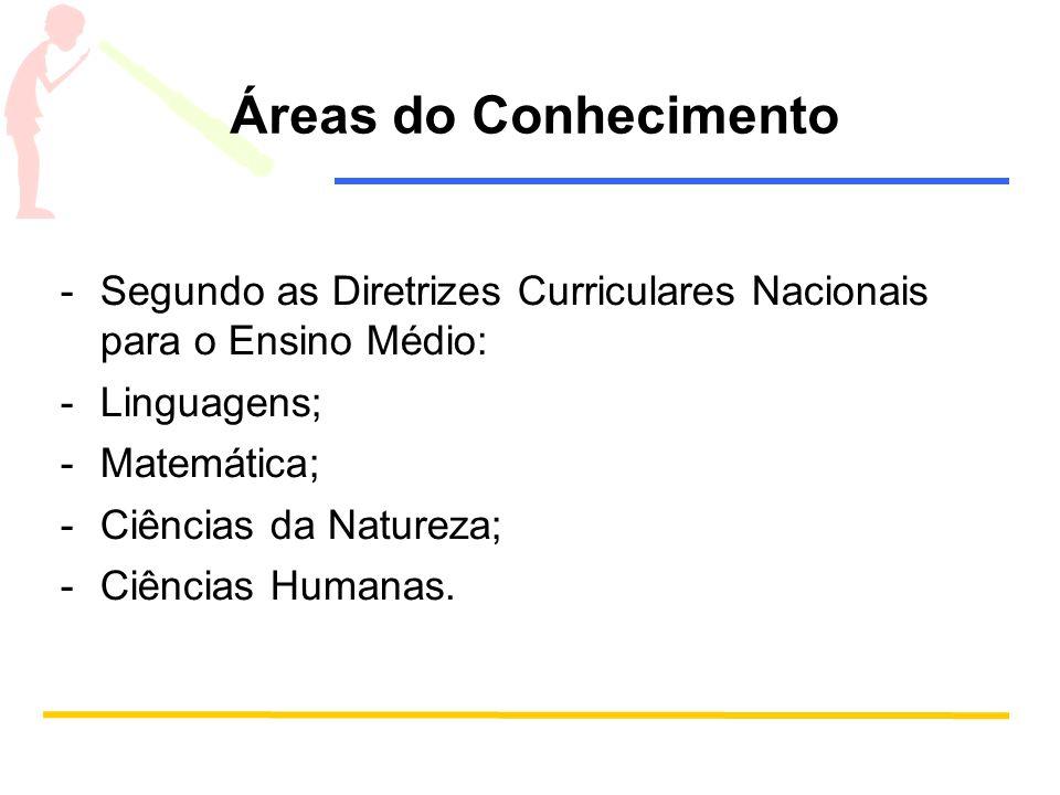 Áreas do Conhecimento Segundo as Diretrizes Curriculares Nacionais para o Ensino Médio: Linguagens;