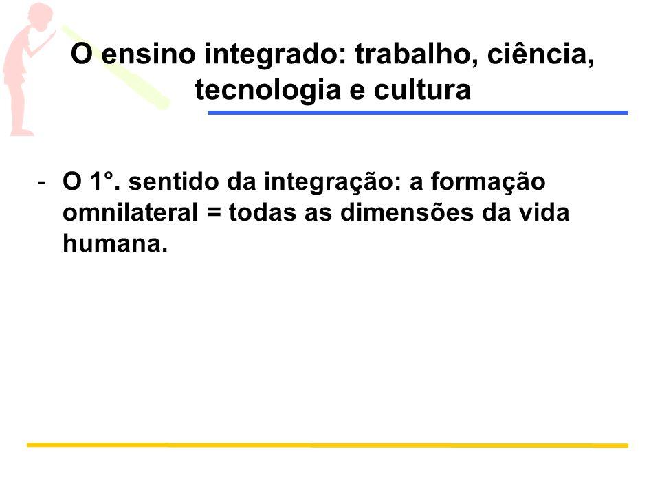 O ensino integrado: trabalho, ciência, tecnologia e cultura
