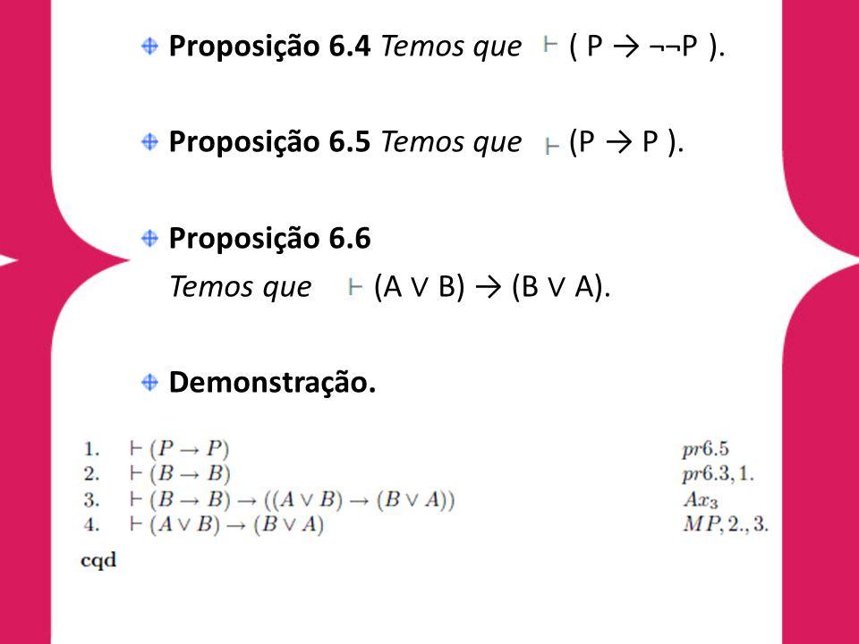 Proposição 6.4 Temos que ( P → ¬¬P ).