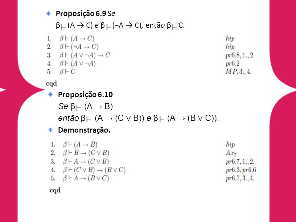 Proposição 6.9 Se β (A → C) e β (¬A → C), então β C. Demonstração. Proposição 6.10. Se β (A → B)