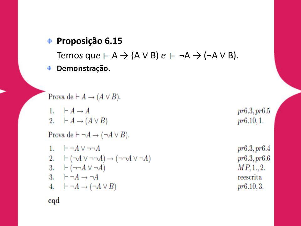 Temos que A → (A ∨ B) e ¬A → (¬A ∨ B).