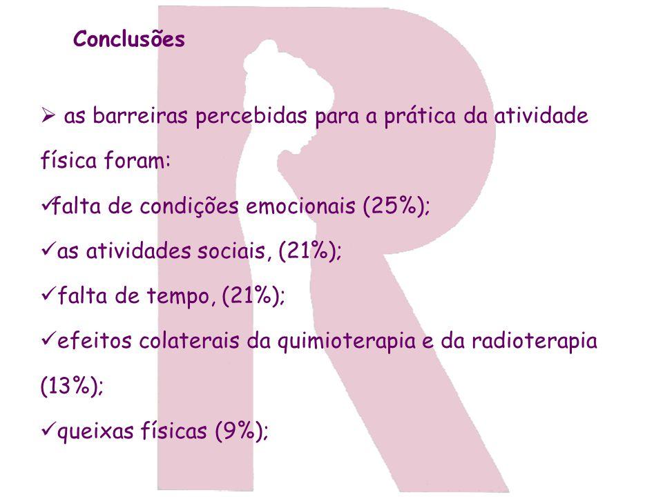Conclusões as barreiras percebidas para a prática da atividade física foram: falta de condições emocionais (25%);