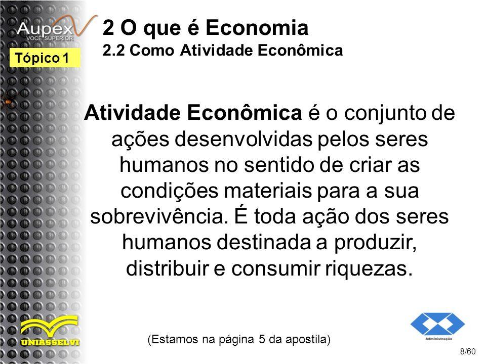2 O que é Economia 2.2 Como Atividade Econômica
