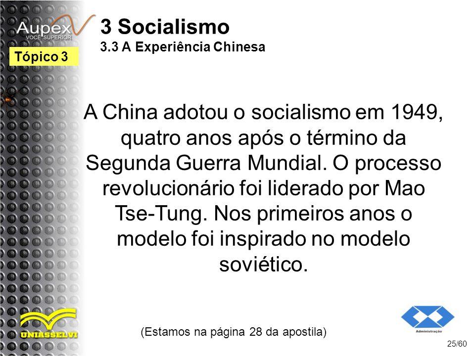 3 Socialismo 3.3 A Experiência Chinesa