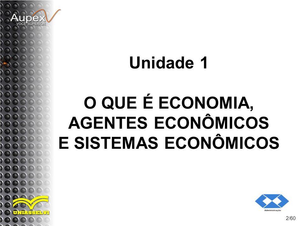 Unidade 1 O QUE É ECONOMIA, AGENTES ECONÔMICOS E SISTEMAS ECONÔMICOS