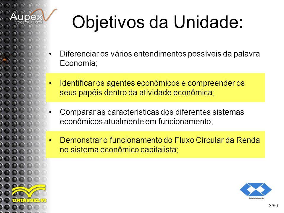 Objetivos da Unidade: Diferenciar os vários entendimentos possíveis da palavra Economia;