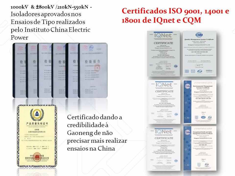 Certificados ISO 9001, 14001 e 18001 de IQnet e CQM