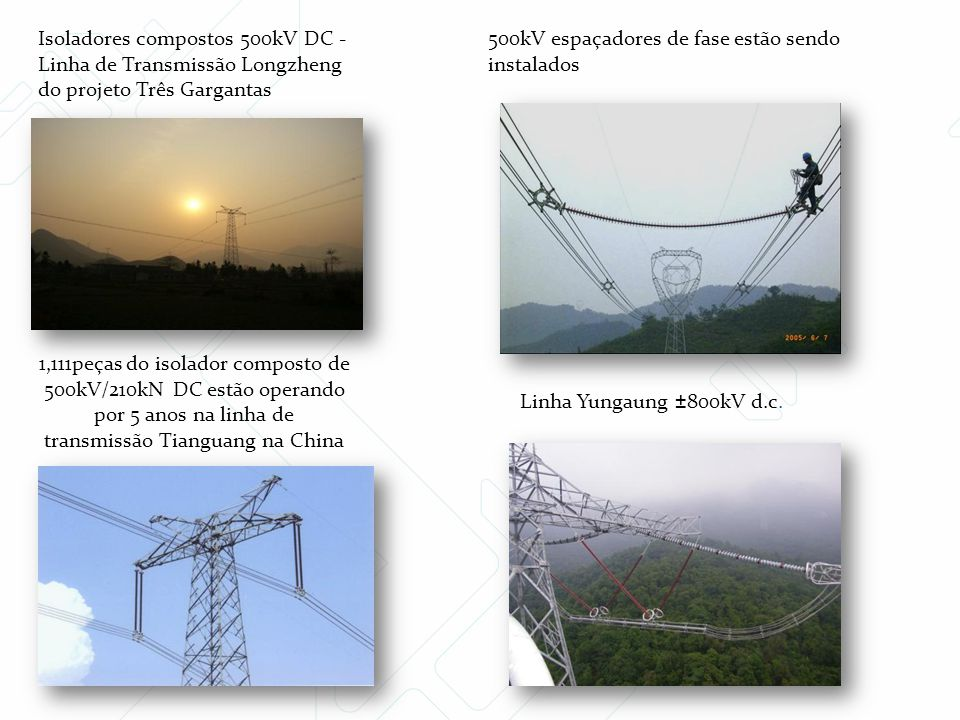 Isoladores compostos 500kV DC -Linha de Transmissão Longzheng do projeto Três Gargantas