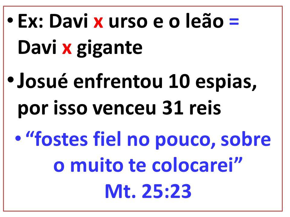fostes fiel no pouco, sobre o muito te colocarei Mt. 25:23