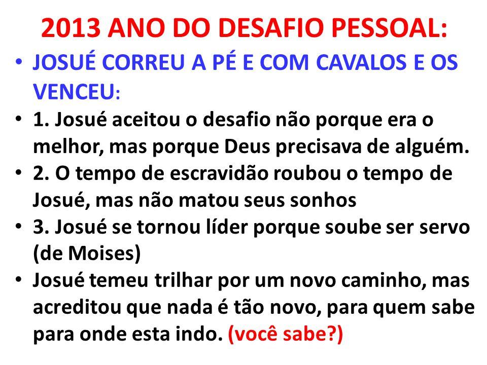 2013 ANO DO DESAFIO PESSOAL: