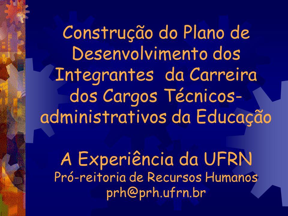 Construção do Plano de Desenvolvimento dos Integrantes da Carreira dos Cargos Técnicos-administrativos da Educação A Experiência da UFRN Pró-reitoria de Recursos Humanos prh@prh.ufrn.br