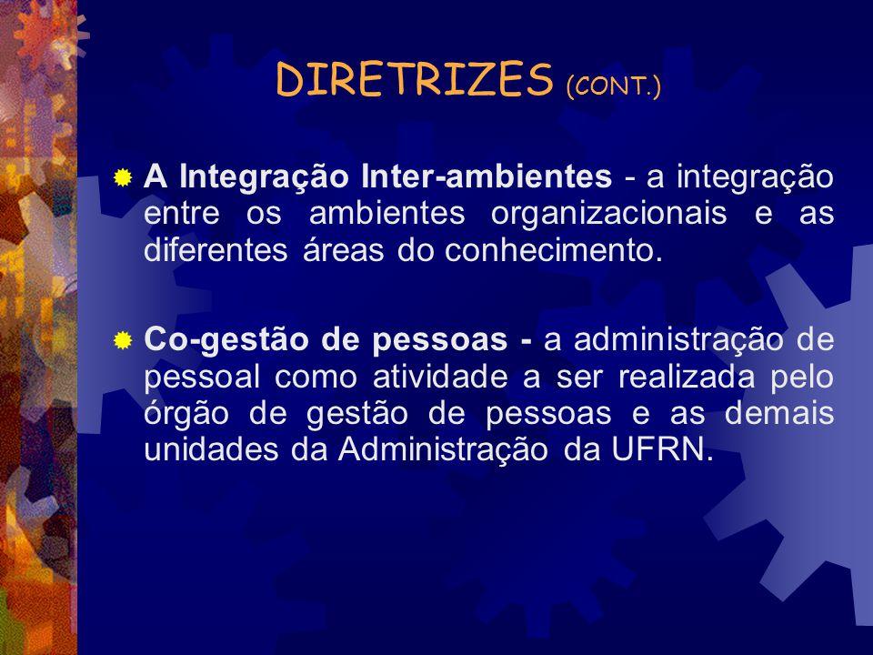 DIRETRIZES (CONT.) A Integração Inter-ambientes - a integração entre os ambientes organizacionais e as diferentes áreas do conhecimento.